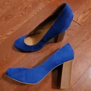Rampage Blue Faux Suede Chunky Heel